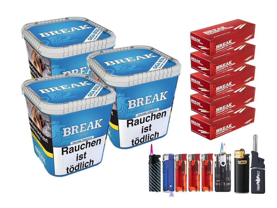 Break Blue / Blau 3 x 240g Volumentabak 1000 Break Filterhülsen Uvm.