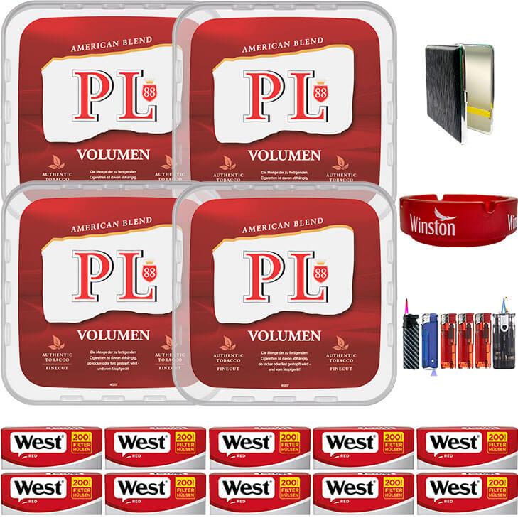 PL88 Red 4 x 400g Volumentabak 2000 Filterhülsen Uvm.