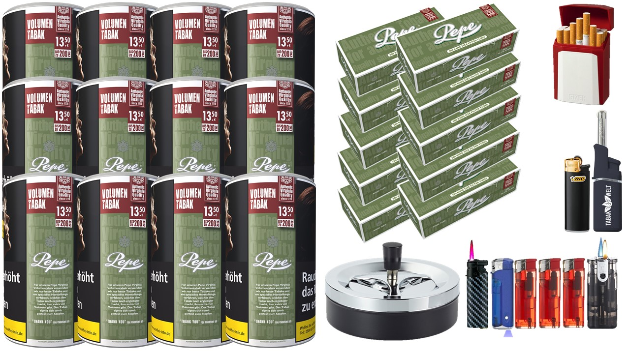 Pepe Rich Green 12 x 85g Volumentabak 2000 Pepe Filterhülsen Uvm.