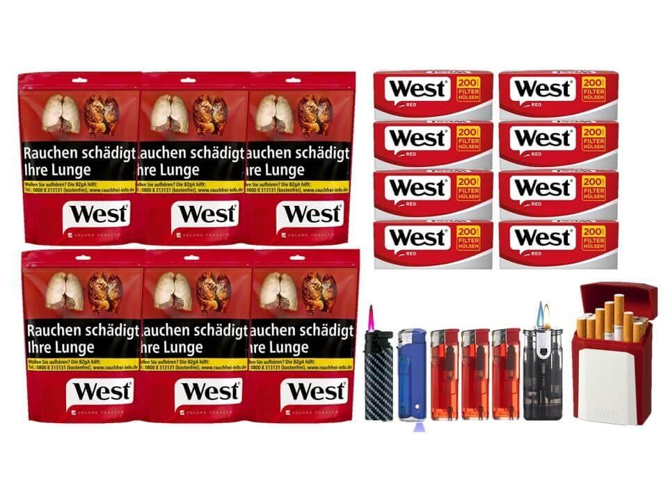 West Red 6 x 134g mit 1600 West King Size Hülsen