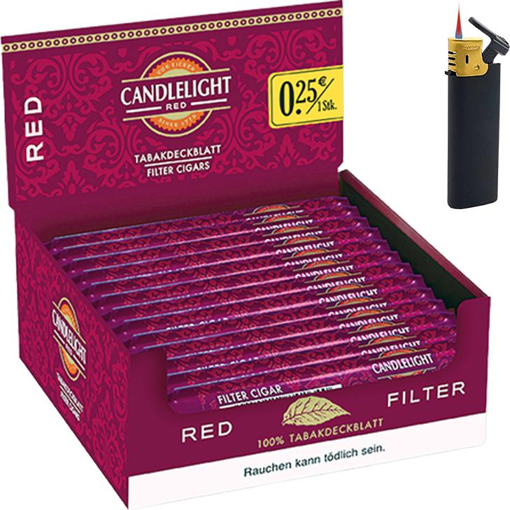 Candlelight Red / Rot 1 x 50 Zigarren mit Sturmfeuerzeug