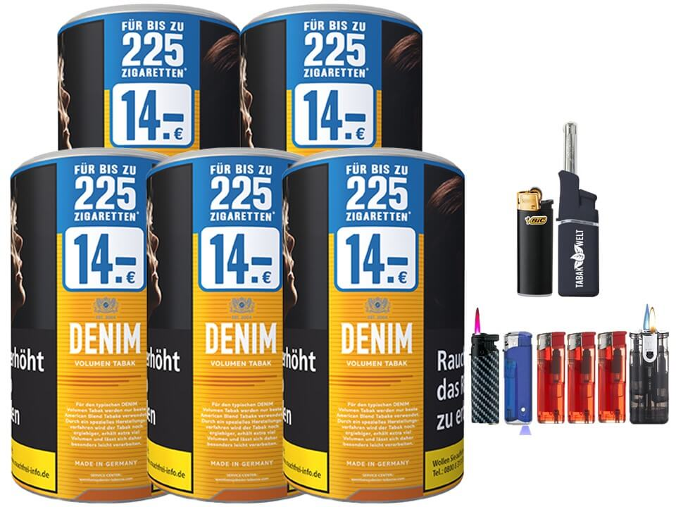 Denim XXL 5 x 95g Volumentabak Feuerzeug Set
