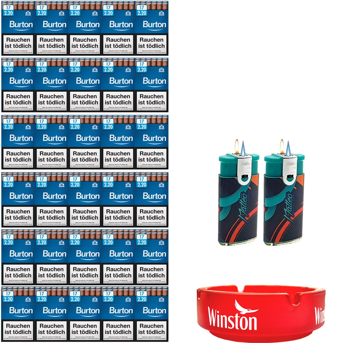 Burton Blue Zigarillos mit Filter (6 Stangen) 60 x 17 Stück
