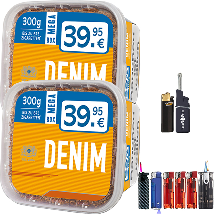 Denim Mega Box 2 x 300g Volumentabak Feuerzeug Set