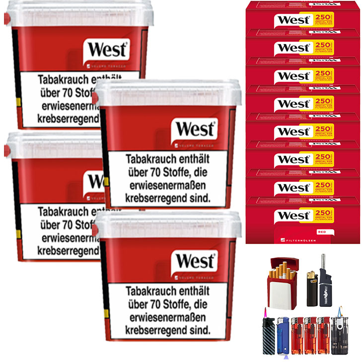 West Red 4 x 280g mit 2000 Extra Size Hülsen