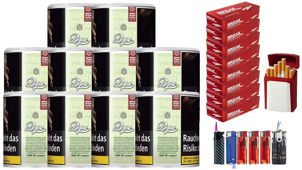 Pepe Easy Green 10 x 80g Feinschnitt / Zigarettentabak 1600 Filterhülsen Uvm.