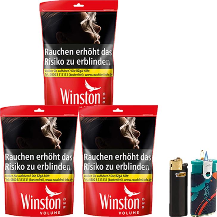 Winston Red 3 x 135g mit Feuerzeuge