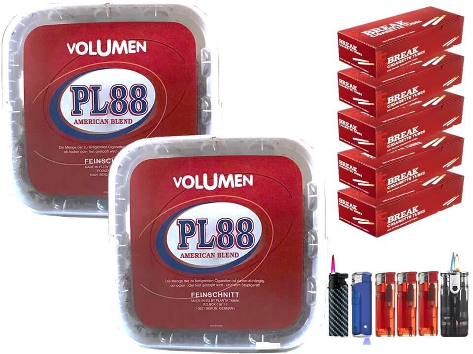 PL88 Red 2 x 400g Volumentabak 1000 Filterhülsen Uvm.