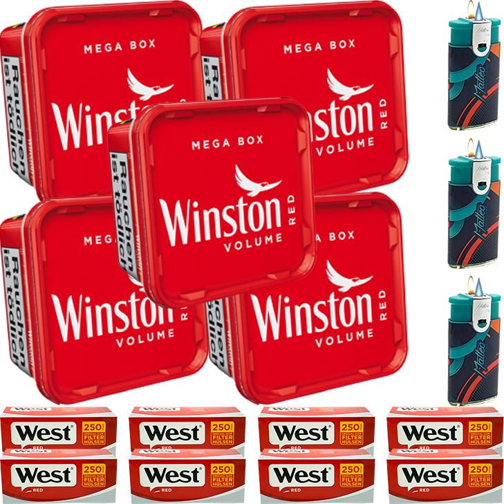 Winston Mega Box 5 x 170g mit 2000 Special Size Hülsen
