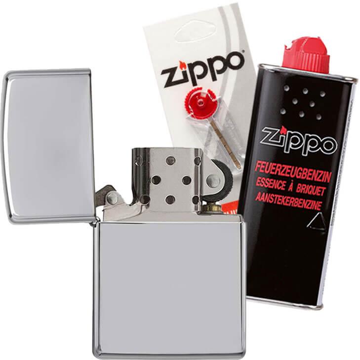 Benzinfeuerzeug im Zippo Set
