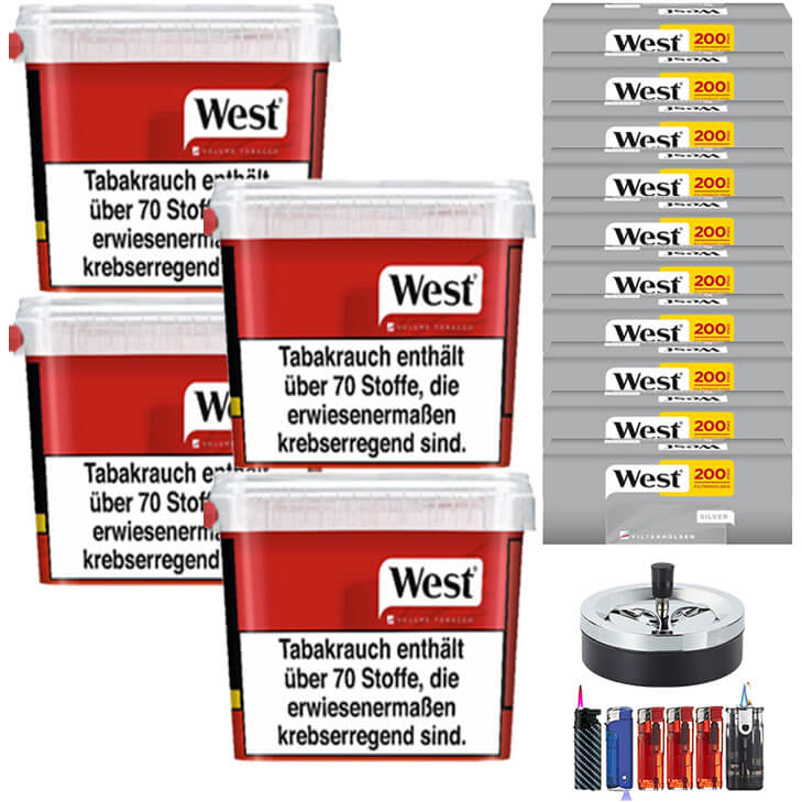 West Red 4 x 300g Volumentabak 2000 West Silver Filterhülsen Uvm.