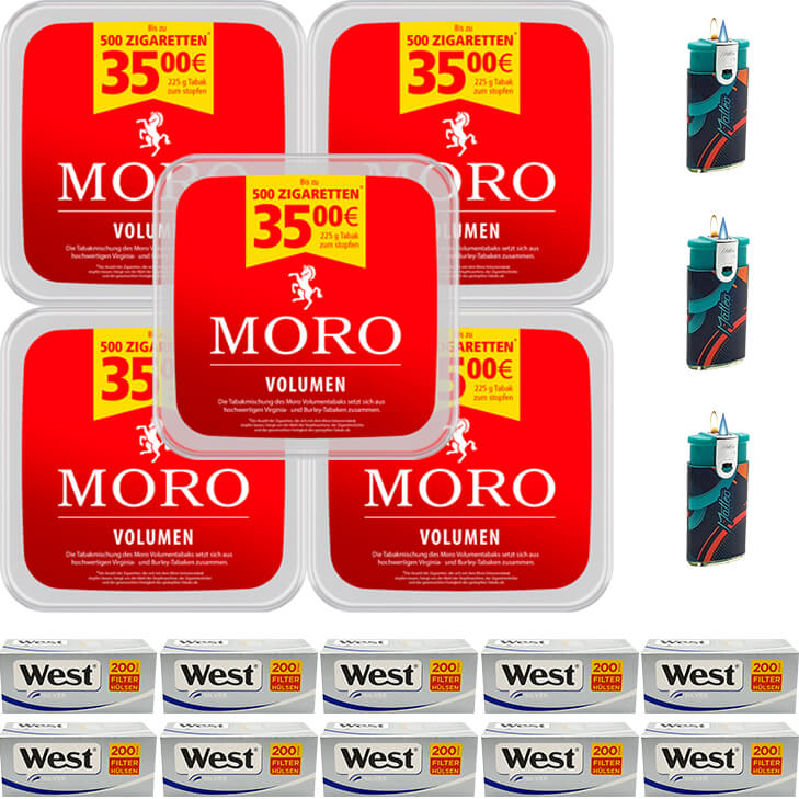 Moro Volumen 5 x 225g mit 3000 Silver King Size Hülsen