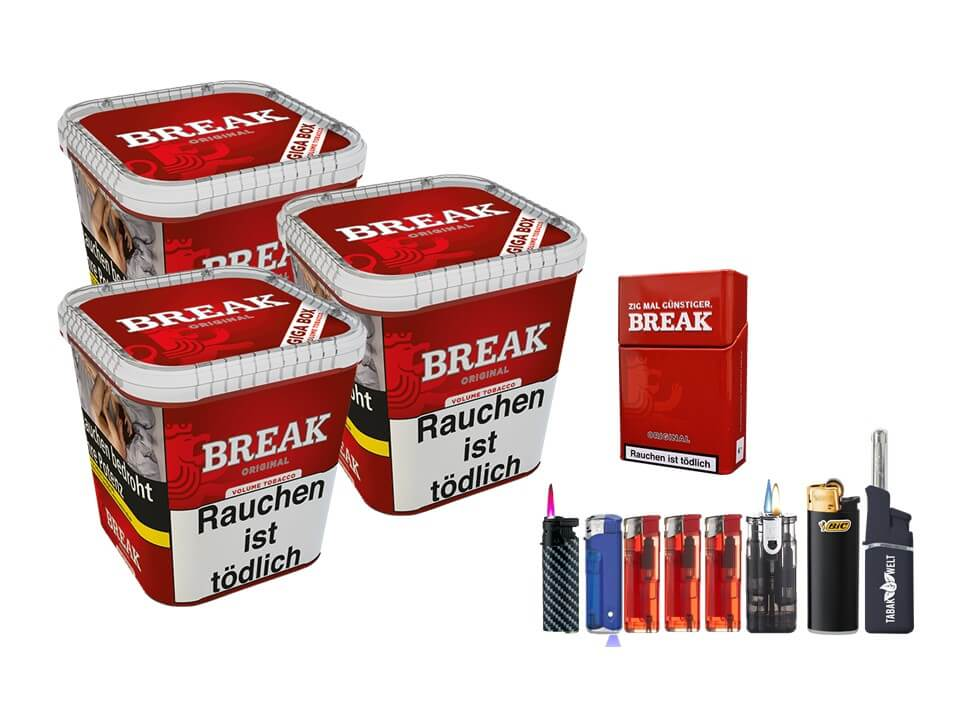 Break Original 3 x 240g Volumentabak Feuerzeug Set Uvm.