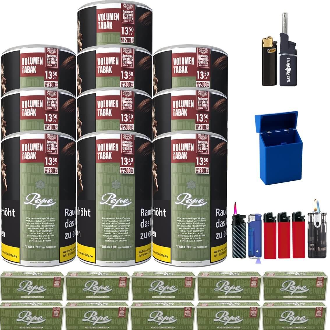 Pepe Rich Green 10 x 85g Volumentabak King Size Filterhülse Uvm.