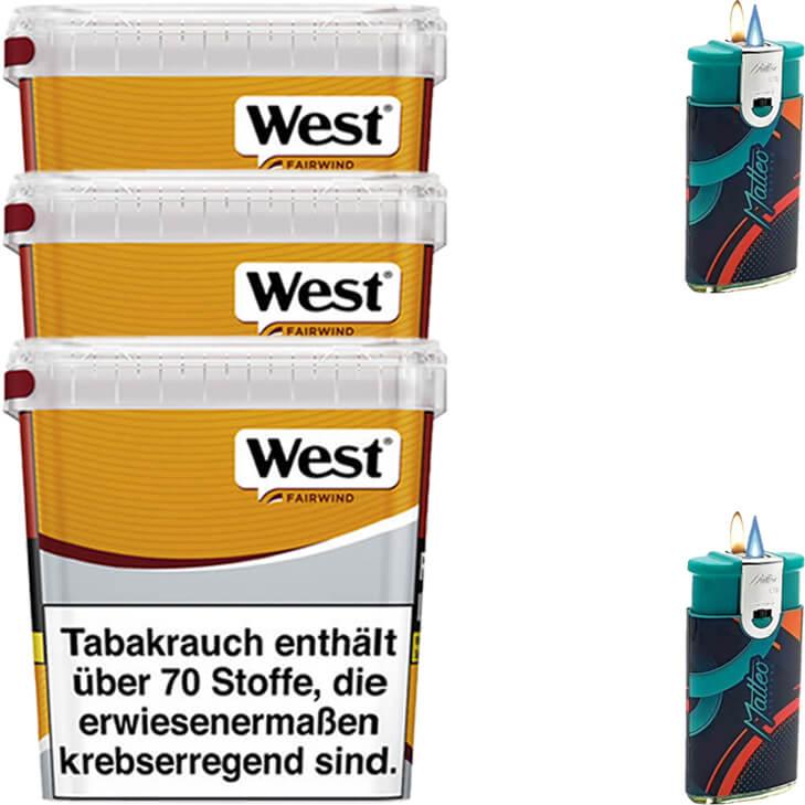 West Yellow Fairwind 3 x 280g mit Feuerzeugen