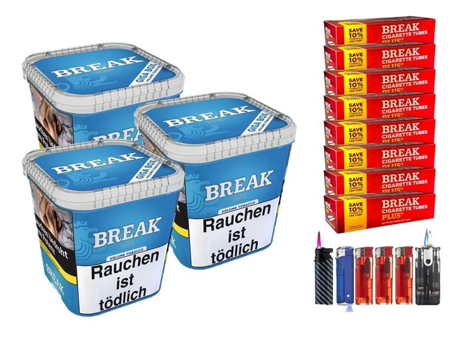 Break Blue / Blau 3 x 240g Volumentabak 1600 Break Xtra Plus Filterhülsen Uvm.