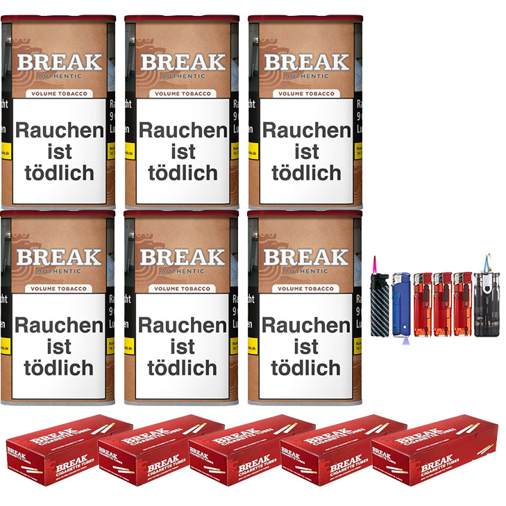 Break Authentic 6 x 75g Volumentabak 1000 Break Filterhülsen Uvm.