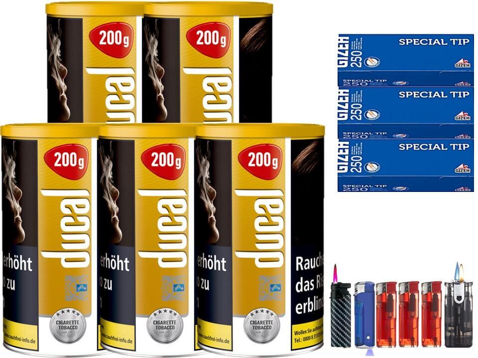 Ducal Gold 5 x 200g Feinschnitt / Zigarettentabak 750 Filterhülsen Uvm.