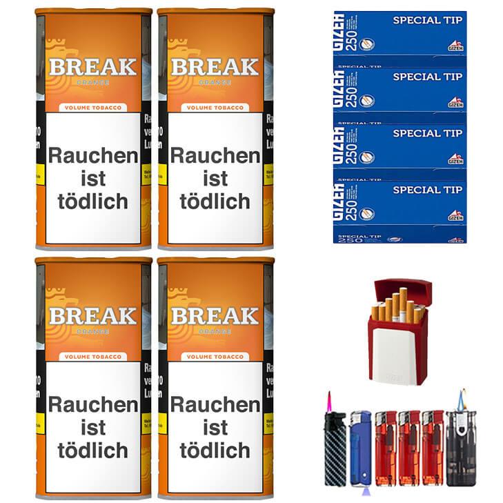 Break Orange 4 x 110g Volumentabak 1000 Break Filterhülsen Uvm.