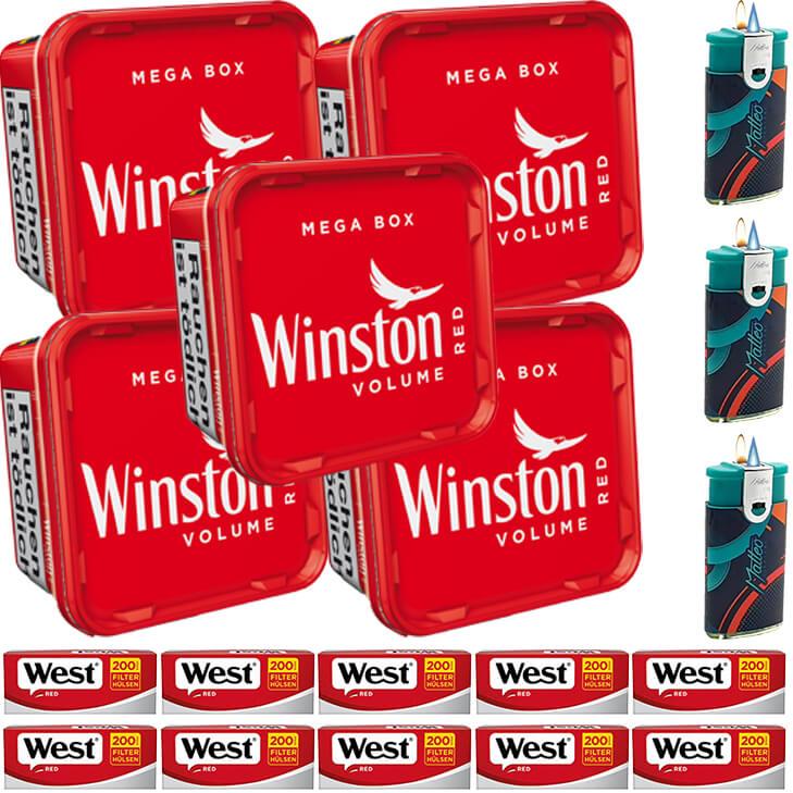 Winston Mega Box 5 x 170g mit 2000 King Size Hülsen