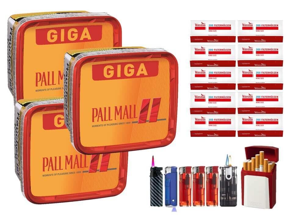 Pall Mall Giga Box 3 x 280g Volumentabak 2000 King Size Filterhülsen Uvm.