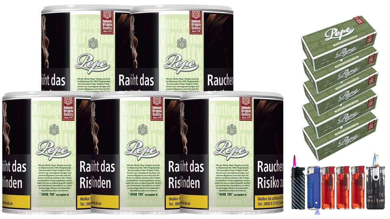 Pepe Bright Green 5 x 80g Feinschnitt / Zigarettentabak 1000 Pepe Filterhülsen Uvm.