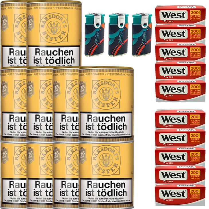 Barsdorf´s Bester Honey & Rum / Gold 10 x 160g Pfeifentabak 2000 King Size Filterhülsen Uvm.