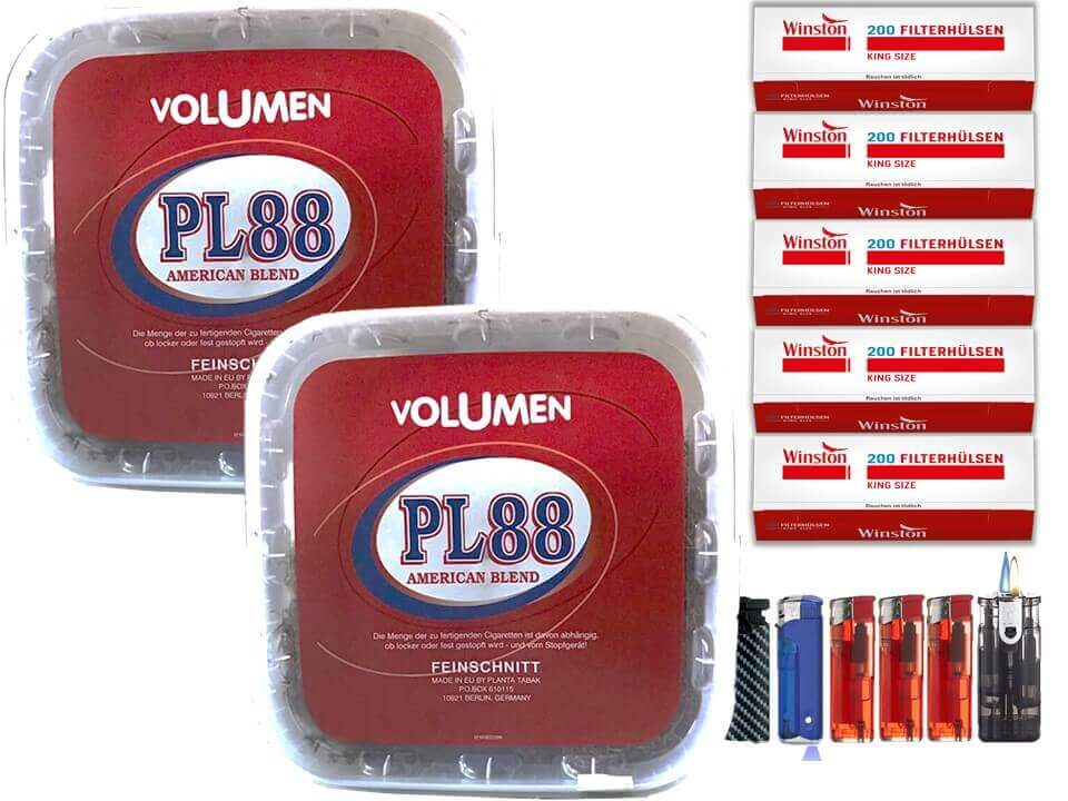PL88 Red 2 x 400g Volumentabak 1000 King Size Filterhülsen Uvm.
