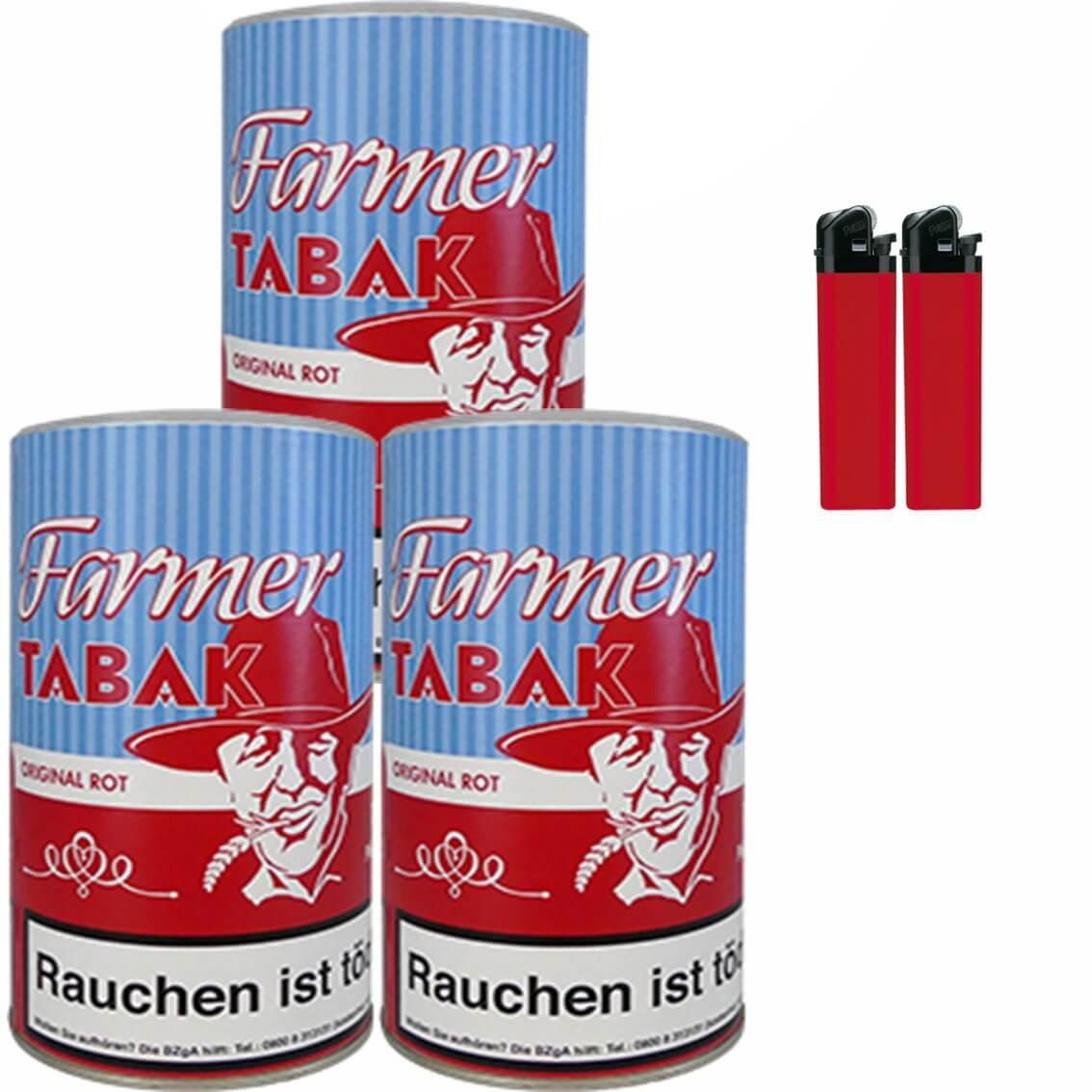 Farmer Original Rot 3 x 160g Pfeifentabak Feuerzeuge