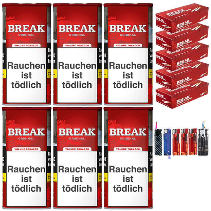 Break Original 6 x 120g Volumentabak 1000 Break Filterhülsen Uvm.