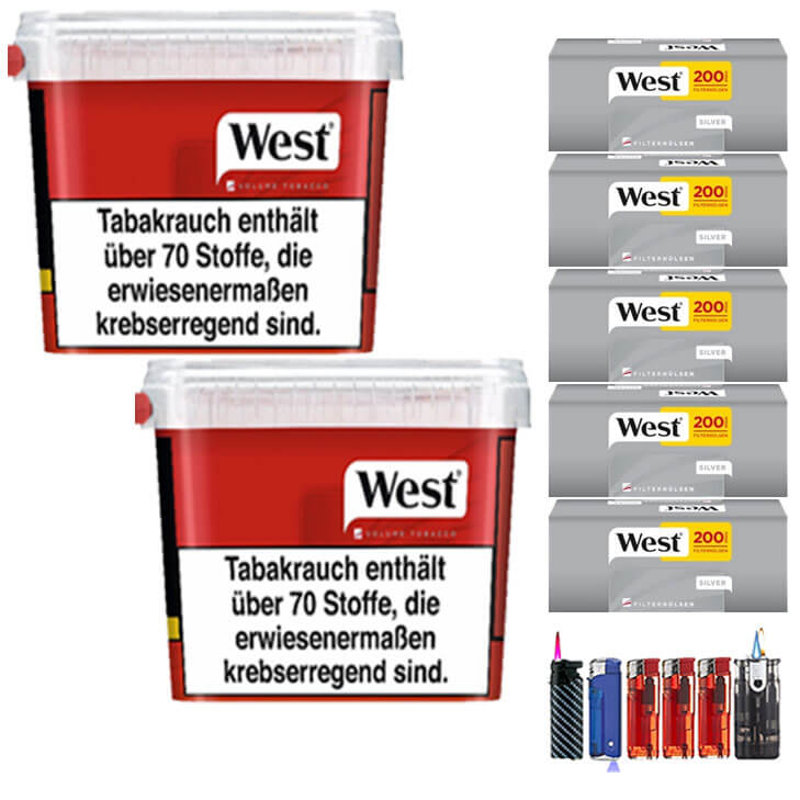 West Red 2 x 300g Volumentabak 1000 West Silver Filterhülsen Uvm.