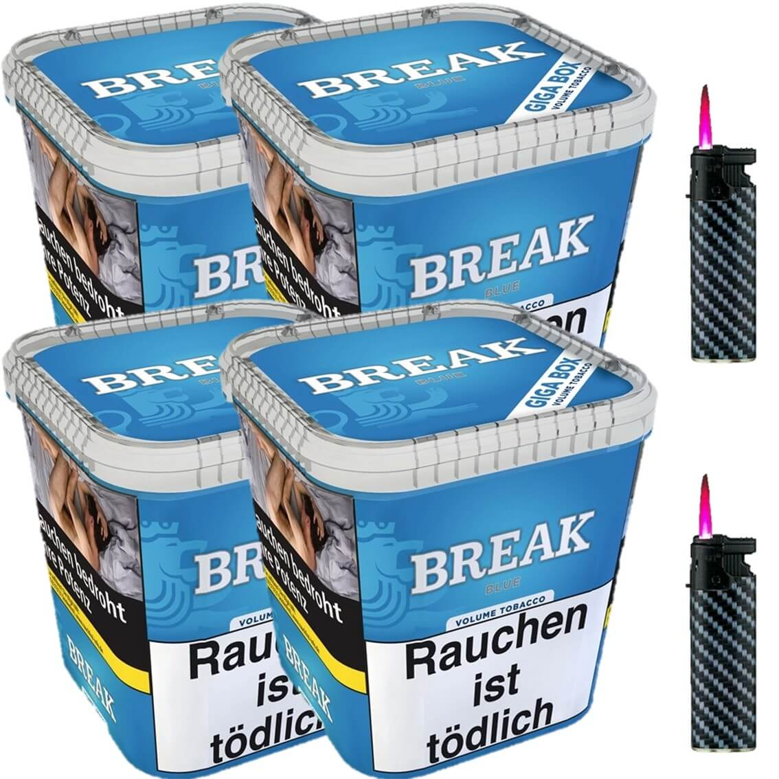 Break Blue / Blau 4 x 240g Volumentabak 2 x Sturmfeuerzeuge