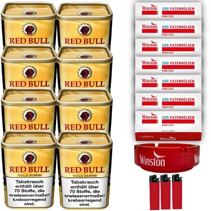 Red Bull Gold Blend 8 x 120g Feinschnitt 1400 King Size Filterhülsen Uvm.