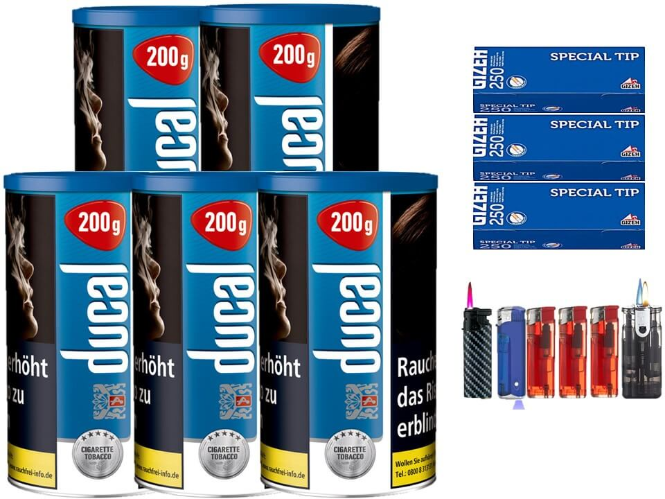 Ducal Blue / Blau 5 x 200g Feinschnitt / Zigarettentabak 750 Filterhülsen Uvm.