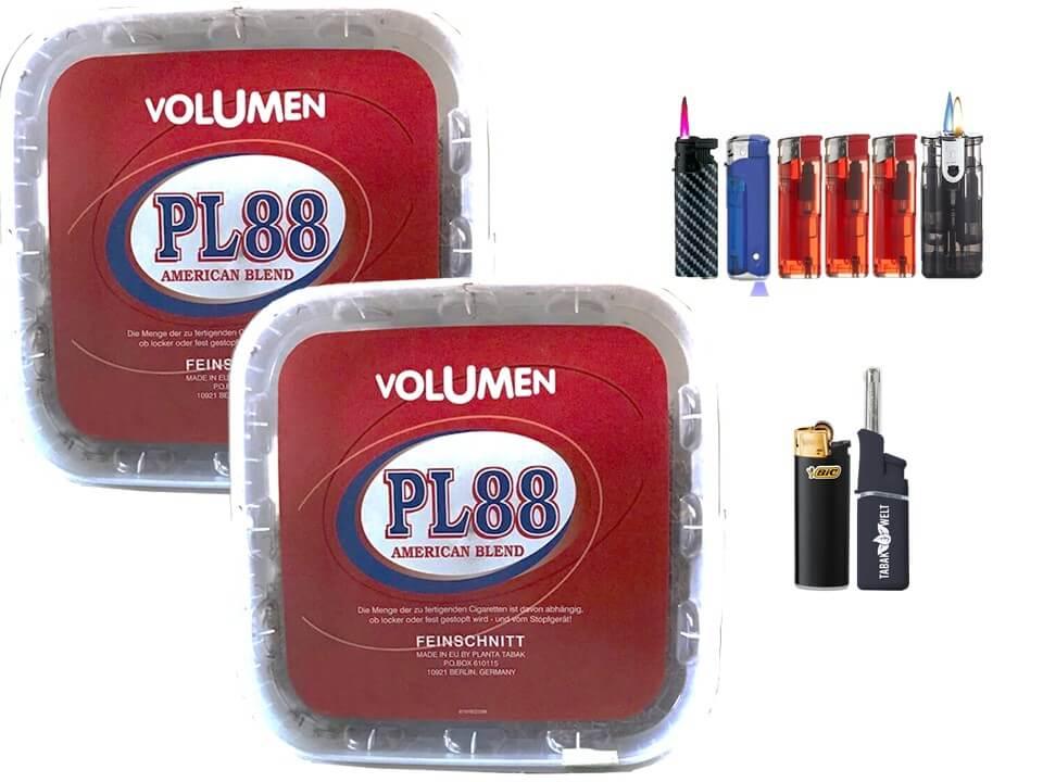 PL88 Red 2 x 400g Volumentabak Feuerzeug Set