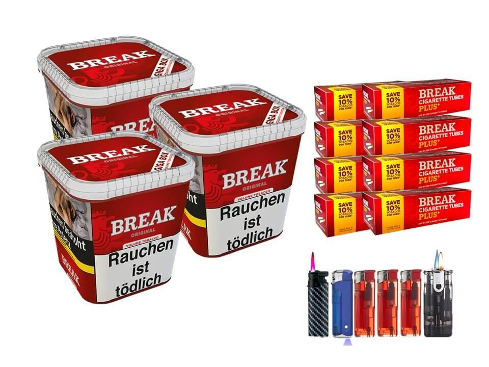 Break Original 3 x 240g Volumentabak 1600 Break Xtra Plus Filterhülsen Uvm.