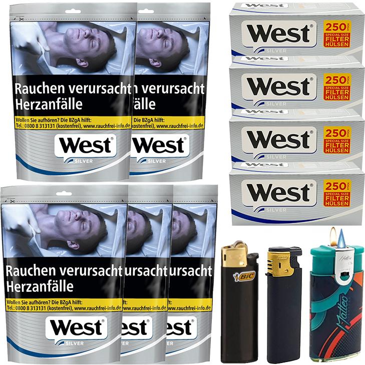 West Silver 5 x 105g mit 1000 Special Size Hülsen