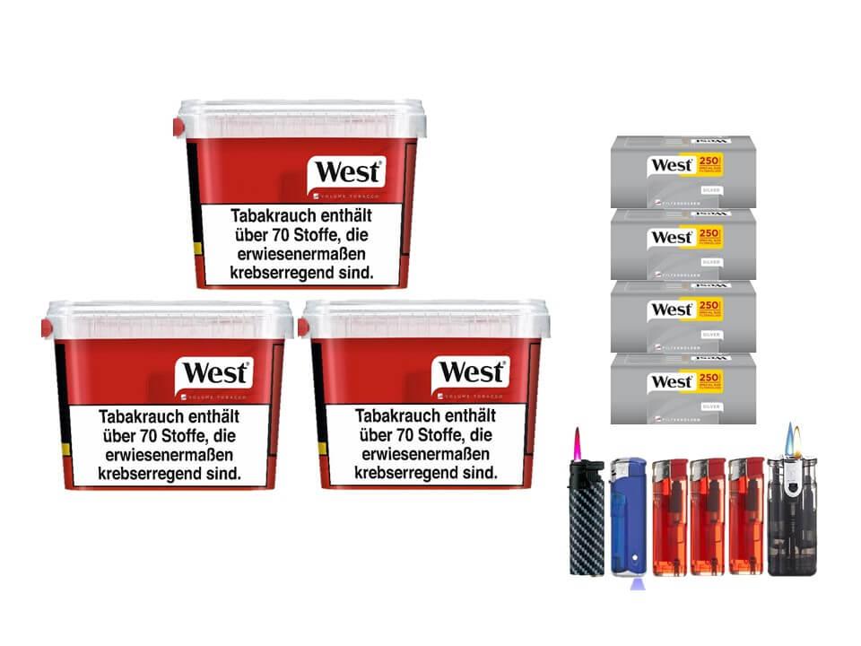 West Red 3 x 170g Volumentabak 1000 West Silver Special Size Filterhülsen Uvm.
