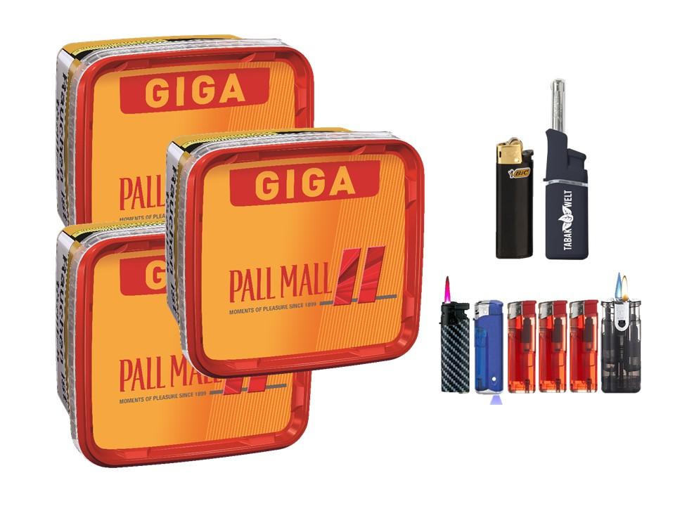 Pall Mall Giga Box 3 x 280g Volumentabak Feuerzeug Set