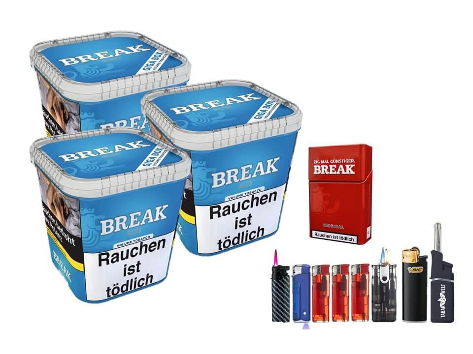 Break Blue / Blau 3 x 240g Volumentabak Feuerzeug Set Uvm.