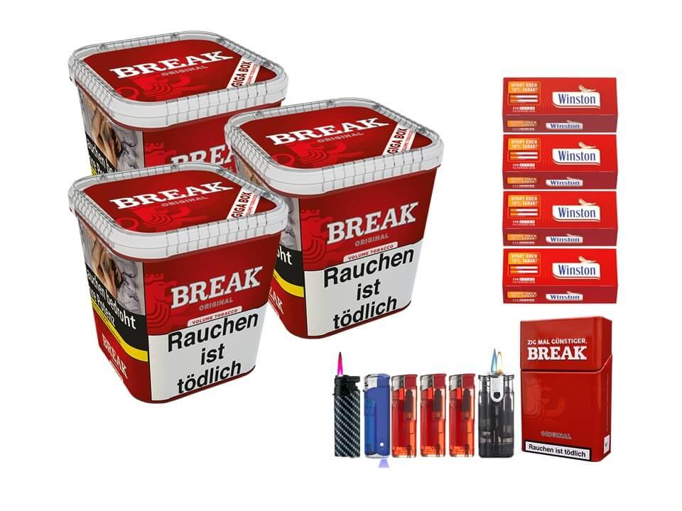 Break Original 3 x 240g Volumentabak 1000 Extra Size Filterhülsen Uvm.