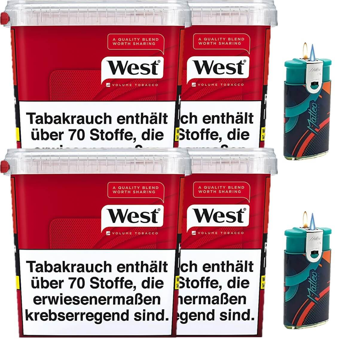 West Red 4 x 300g Volumentabak 2 x Duo Feuerzeuge mit 2 Flammen