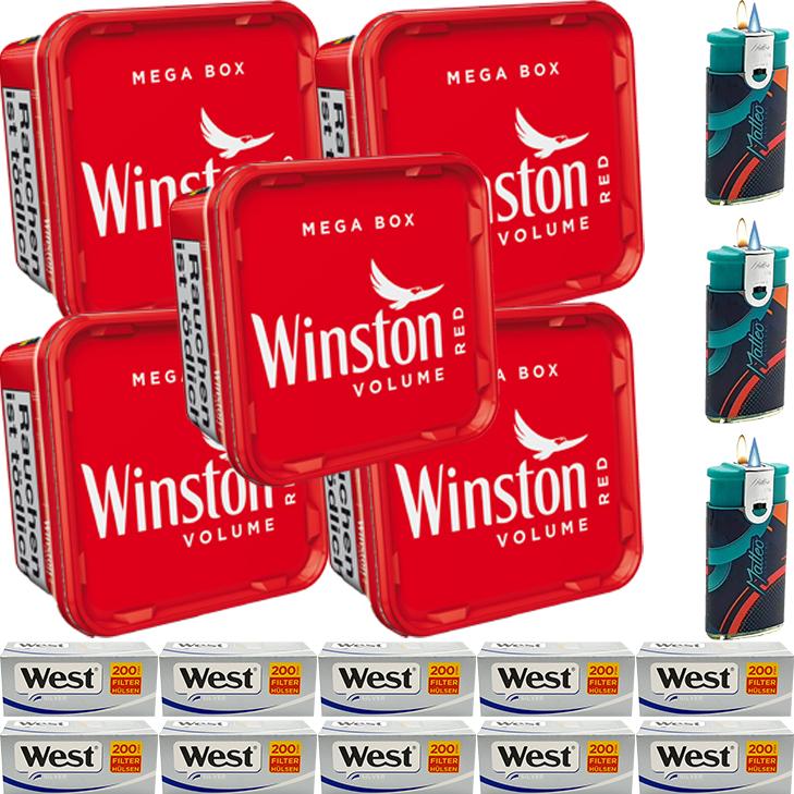 Winston Mega Box 5 x 170g mit 2000 Silver King Size Hülsen
