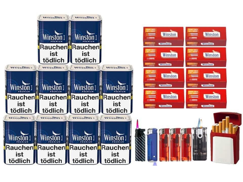 Winston Premium Blue 10 x 100g Feinschnitt 2000 Winston Extra Filterhülsen Uvm.