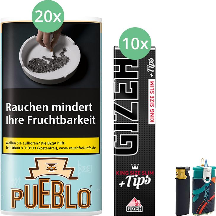 Pueblo Blue 20 x 30g mit Gizeh Black Filter King Size Slim + Tips