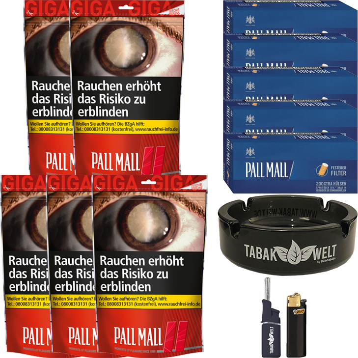 Pall Mall Red 5 x 125g mit 1000 Blue Xtra Hülsen
