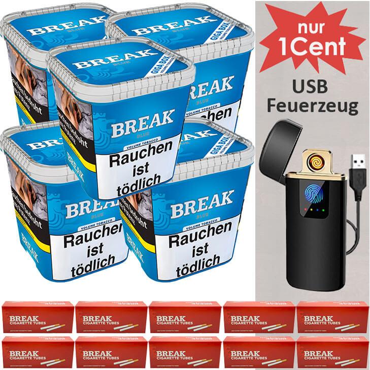 Break Blue / Blau 5 x 240g mit 2000 King Size Hülsen und USB Feuerzeug