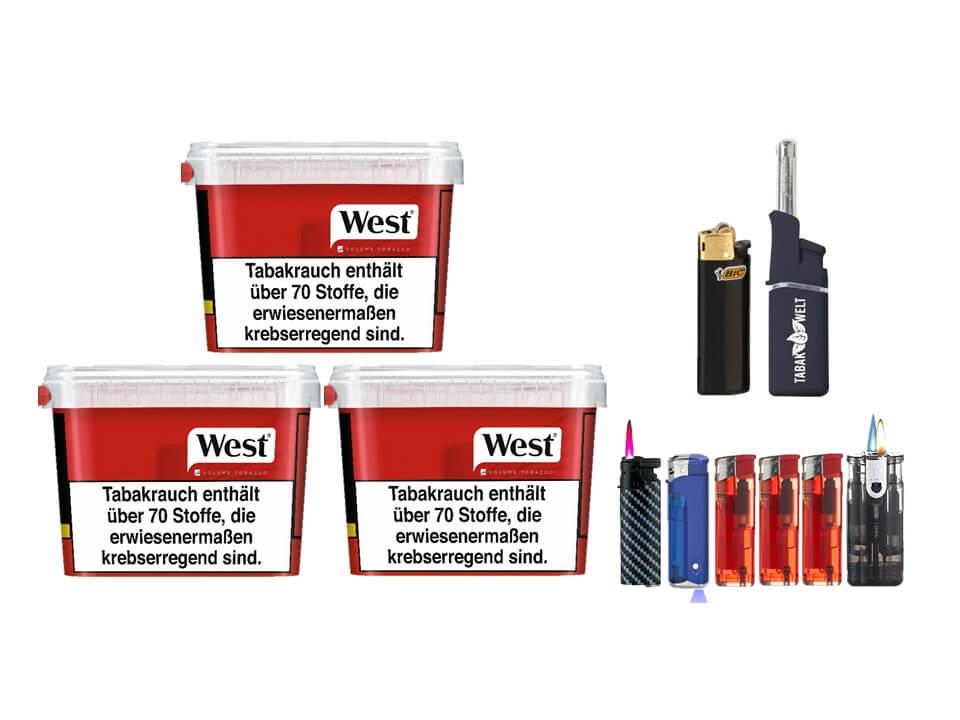 West Red 3 x 170g Volumentabak Feuerzeug set