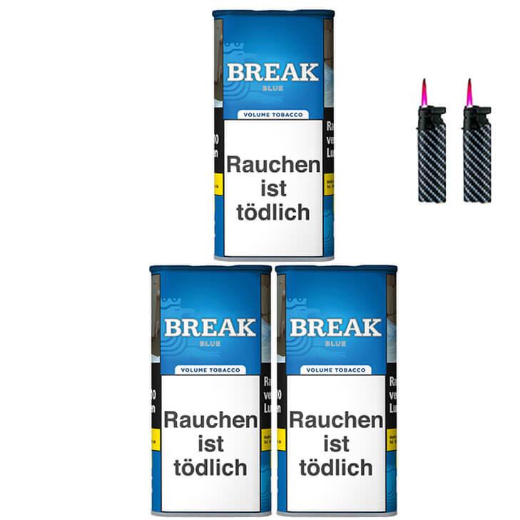 Break Blue / Blau 3 x 120g Volumentabak Feuerzeuge