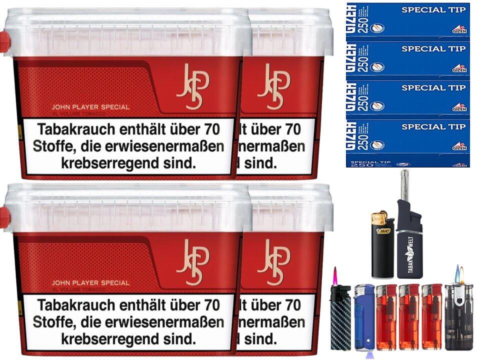 JPS John Player Mega Box 4 x 160g Volumentabak 1000 Filterhülsen Uvm.